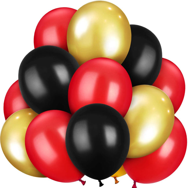 Metallic Balloons Gold, Black and Red Latex  for Wedding Birthday Festival Party Decoration