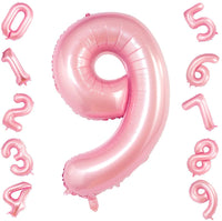 Pink Digit Foil Birthday Party Balloon Number 9
