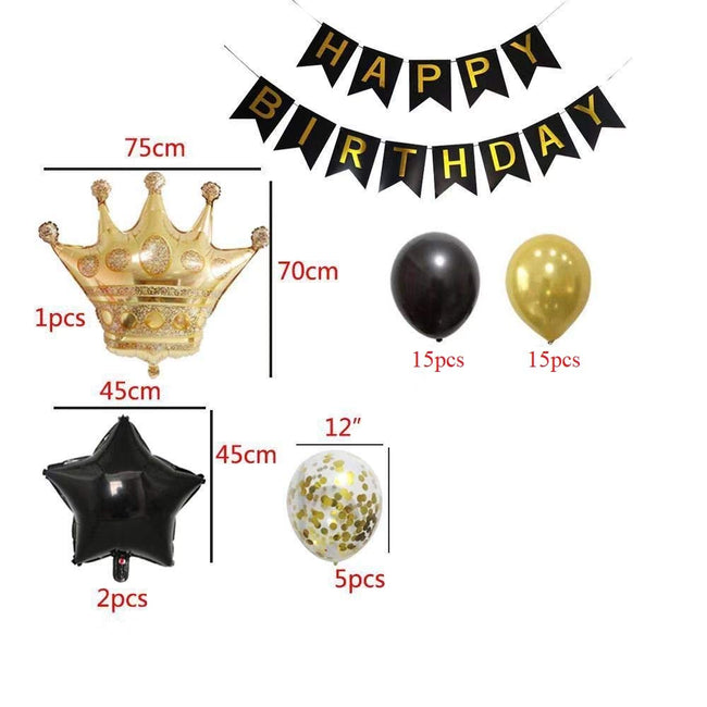 Birthday Party Decorations KIT - Happy Birthday Banner, Gold Crown Balloon Gold and Black Latex Balloons, Perfect Party Supplies