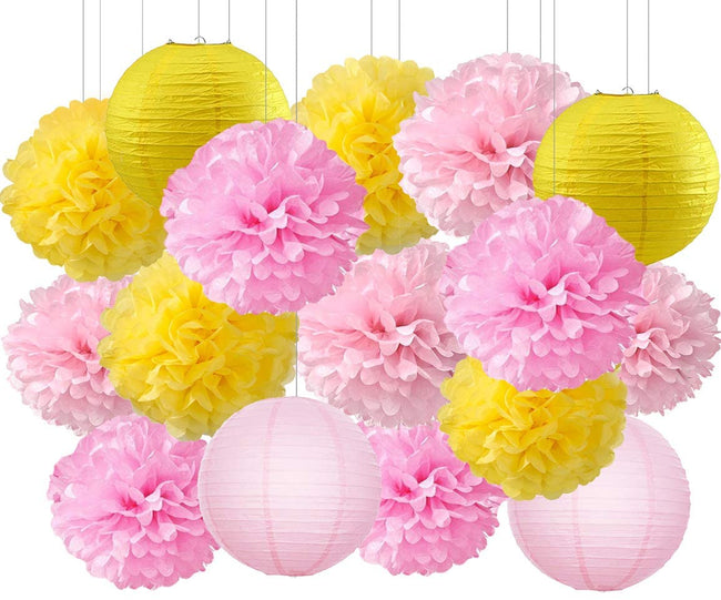 Pink and Yellow  Tissue Paper Pom Poms and Paper Lanterns -Birthday Party Decorations Bridal Shower Decorations Wedding Decorations Baby Shower Decorations