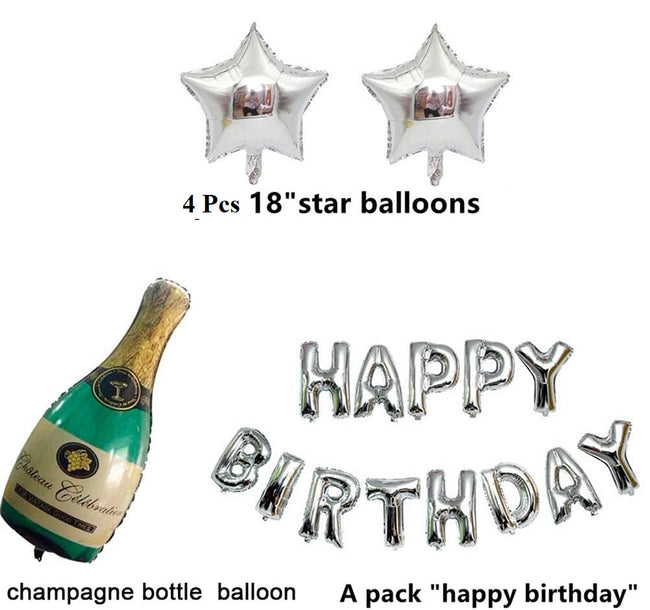 21st Birthday Party Decorations Kit: Happy Birthday Balloons, Led String Lights, Sliver 21 Foil Balloon, Happy Birthday Banner Black and Silver Combo