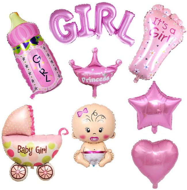 """Baby Girl Welcome Decoration Foil Balloons Kit""- Foil Balloons(Pack of 8)"