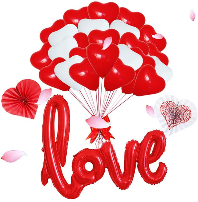 Red Love Foil Balloons Banner and  Mylar Foil Letters Balloons Reusable Ecofriendly Material for Wedding Bridal Shower Anniversary Engagement Party Decorations Supplies