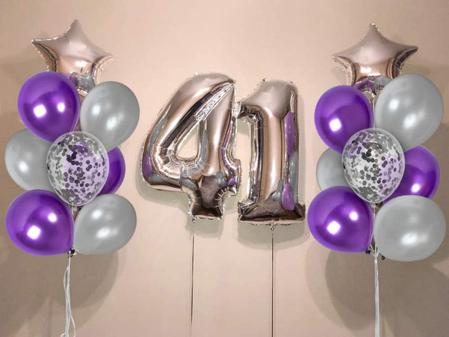 Metallic Silver and Purple Balloons and 12 Inch Silver Confetti Balloon(with ribbon) - Pack of 40 Baby Arrival,  Birthday Party Wedding Bridal Shower Party Decoration