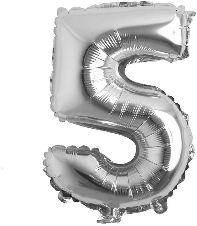 Silver digit Foil Birthday Party Balloon Number 5