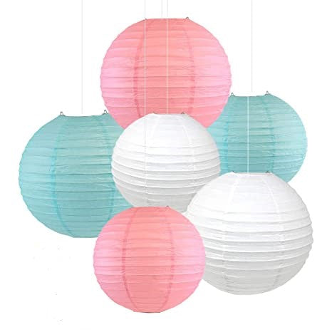 "Blue ,White and Pink  Paper Lanterns -12""inch  GREAT FOR BABY SHOWER PARTIES"