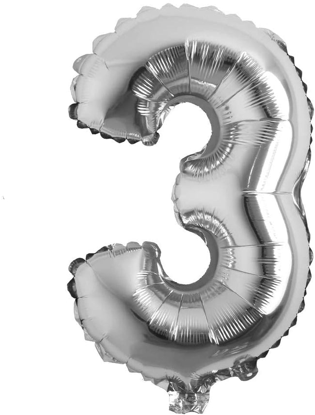 Silver digit Foil Birthday Party Balloon Number 3