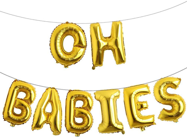 """OH BABIES"" Letter Balloons Balloons for Twin Baby Welcome /Baby Shower"