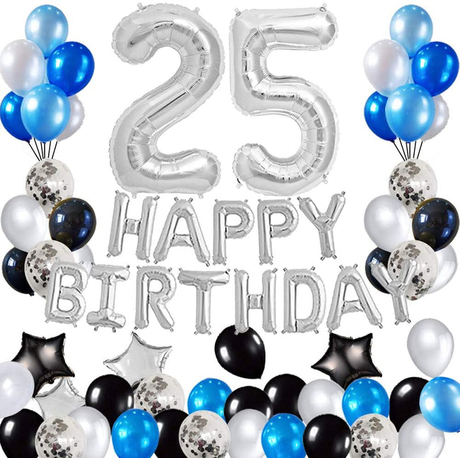 25th Birthday Decorations Birthday Party Supplies Set- Foil Happy Birthday Banner Foil Balloons Number 25 and Star Shape Balloons 45 pcs Latex Balloons Silvery and Blue