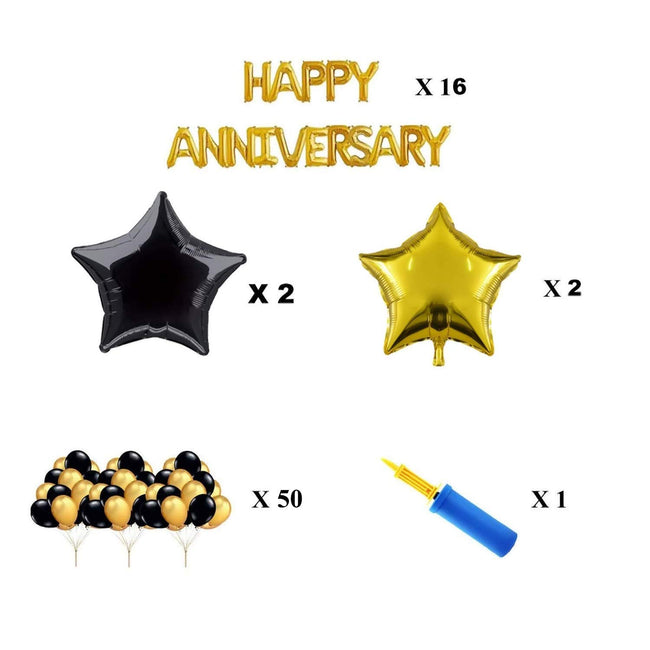 "Happy Anniversary Combo -""Happy anniversary"" Foil Banner with Balloons and Foil Star with Air Pump for Anniversary Decoration Item Combo"