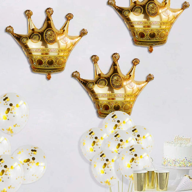 3 Pcs Crown Balloons with 20 Pcs Gold Confetti Balloons,Crown Foil Helium Balloons for Birthday Wedding Party Decoration