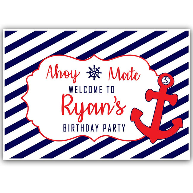 Personalized Nautical Ahoy  Birthday Photo Party Backdrop