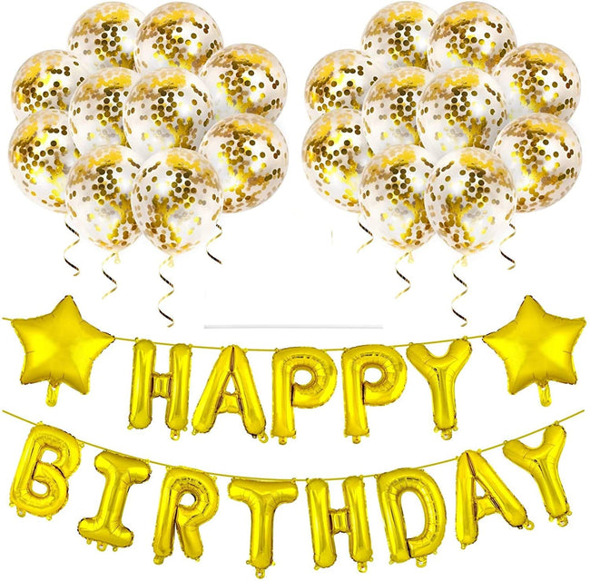 """Gold Happy Birthday Decorations""-Balloons  Letter Banner Set ,Star Foil Balloon and Confetti Balloons"