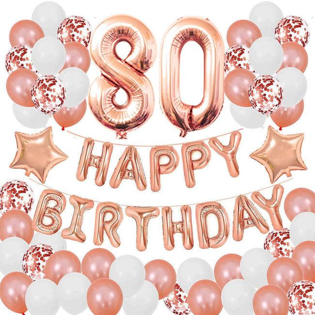 80TH Birthday Decorations for Girls and Women 80th Birthday Decorations 80 Years Old Birthday Party Supplies Happy Birthday Banner Rose Gold Confetti Balloons Rose Gold