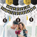 1st Anniversary Decorations Kit  - Anniversary Banner, Hanging Swirl and Pom  Pom