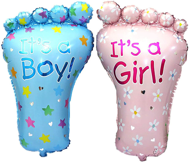 It's A Boy and It's A Girl Foot Balloon Letter. Helium Quality Foil Balloon for Baby Showers Party Supply Decorations