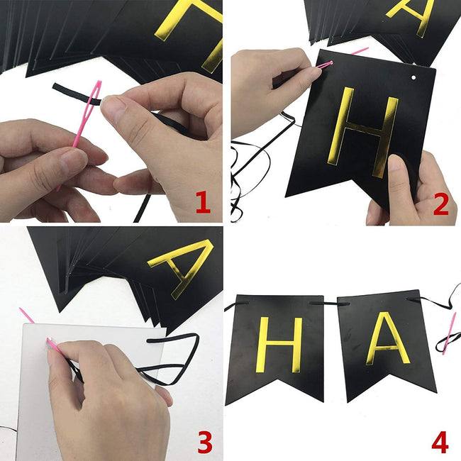 Black Gold Foiled Happy Birthday Bunting Banner Party Decor Home Decor for Home