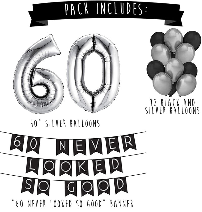 60 Never Looked So Good Birthday Party Pack - Black & Silver Happy Birthday Bunting, Balloon,
