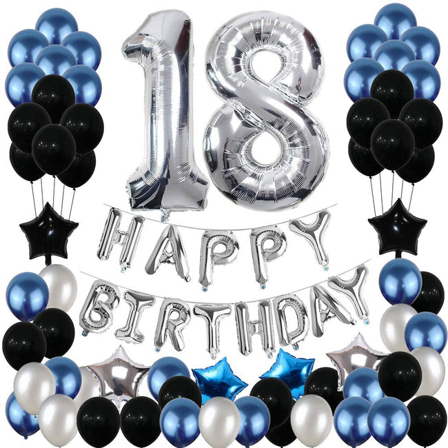 18th Birthday Decorations, 18th Birthday Party Pack 18th Birthday Gifts include Silver Number 18 Balloons Suitable for Girls Boys Women Men