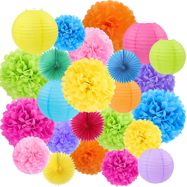 Multi color Tissue Paper Pom Poms, Paper Fans and  Paper Lanterns -Birthday Party Decorations, Bridal Shower Decorations, Wedding Decorations, Baby Shower Decorations
