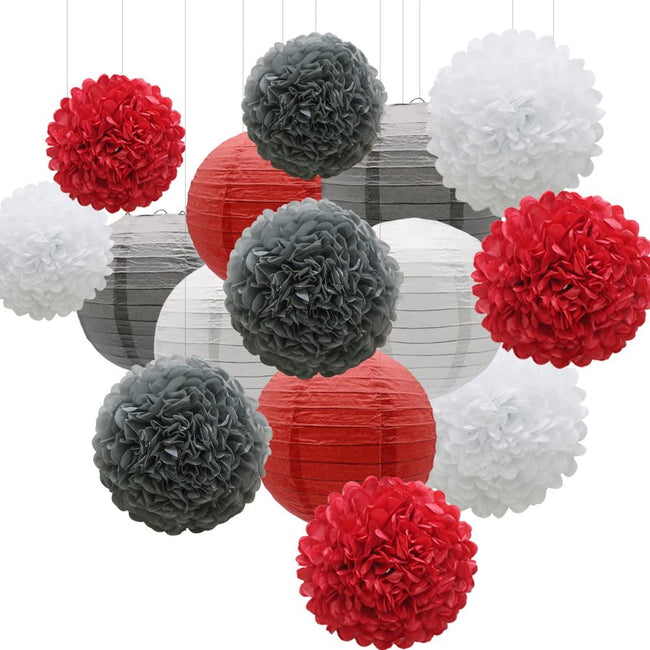 Red Silver and White Tissue Paper Pom Poms and  Paper Lanterns -Birthday Party Decorations, Bridal Shower Decorations, Wedding Decorations, Baby Shower Decorations