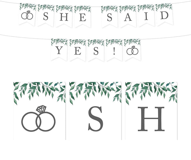 Natural Greenery Green Leaves Wedding Party Banner Decorations, She Said Yes!,