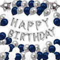 40th Birthday Decoration Kit - Happy Birthday Silver Foil, Latex Balloons And Star Foil balloons