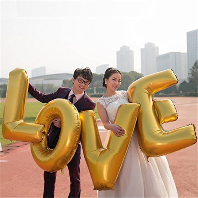 "Love Combo -""LOVE""  Foil balloon Banner with Balloons and Pink Foil Heart for Anniversary Decoration,Valentine and Love Theme Decorations  Item Combo"