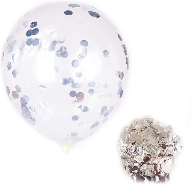 """Silver"" - 12-inch Transparent Balloon 20pcs Confetti Balloons Inflatable Wedding Supplies Party Wedding Decoration Silver"