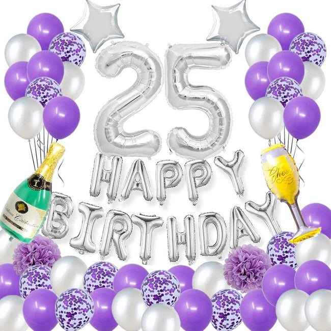 Happy 25TH Birthday Party Decorations Pack-Purple Silver Theme Happy Birthday Banner Foil Number 25 12inch Purple Confetti Balloons Purple and Silver Latex Balloons Purple
