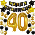 40th Birthday Decorations 40th Number Balloons Black and Gold Party Decorations 40th Birthday Banner with 40th Birthday Party Supplies for Women Men