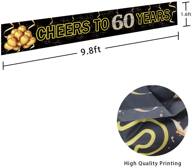 Cheers to 60 Years Banner- Black Gold 60 Anniversary Party Sign/ 60th Happy Birthday Banner
