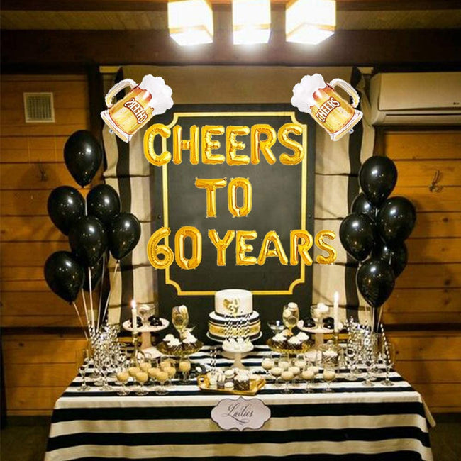 Cheers To 60 Years Balloons Cheers To 60 Years Banner Cheers & Beers to 60 Years Banner 60th Birthday Party 60th Anniversary 60th Birthday Sign 60th Birthday Decor 60th Party Banner