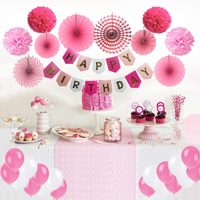 """Pink Birthday Decoration Girls - Happy Birthday Banner, Tissue Paper Fans , Pom Poms  and Latex Balloons"