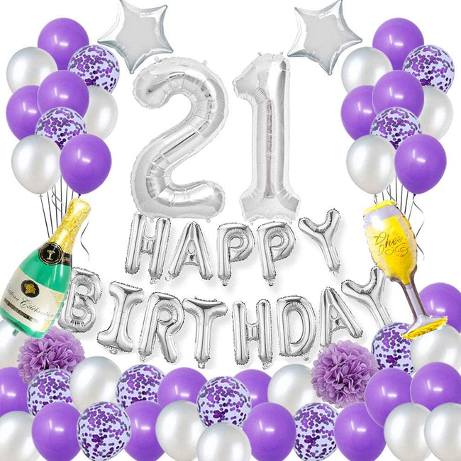 21st Birthday Party Decorations Pack-Purple Silver Theme Happy Birthday Banner ,Foil Number 21, 12inch Purple Confetti Balloons Purple and Silver Latex Balloons