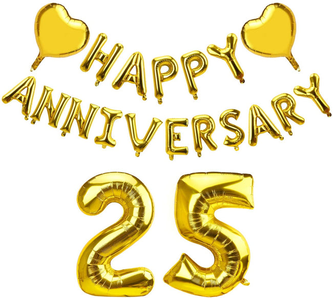 Happy 25th  Anniversary Balloon with 2 Heart Foil - Gold 25th Anniversary Party Decorations