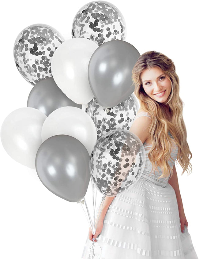 Metallic White and Silver Balloons 12 Inch Silver Confetti Balloon(with ribbon) - Pack of 40 Baby Arrival,  Birthday Party Wedding Bridal Shower Party Decoration