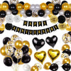 Black and Gold Party Decorations Happy Anniversary Confetti Balloons with Banner,Star Heart Foil Balloons,Paper Pompoms for 1st 5th 10th 18th 20th 30th 40th 50th Anniversary Decoration