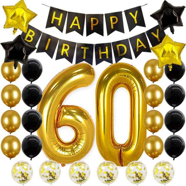 60th birthday decorations Happy Birthday Banner 60 Number Balloons 60th Birthday Gifts For Women Men