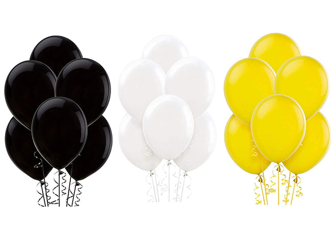 Black White and Yellow Latex Balloon for Birthday Parties, Construction Party theme, Bee Baby Shower Theme.