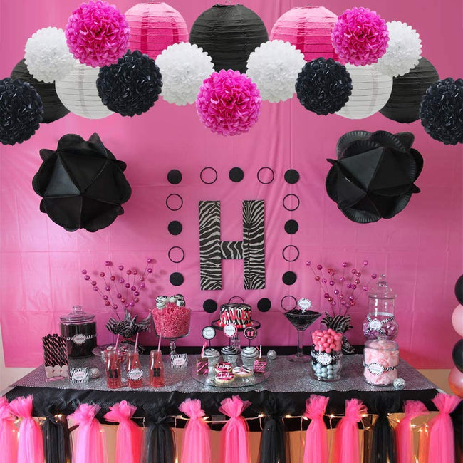 Pink ,Black  and White  Tissue Paper Pom Poms and  Paper Lanterns -Birthday Party Decorations, Bridal Shower Decorations, Wedding Decorations, Baby Shower Decorations