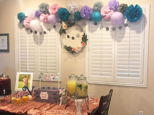 Pink ,Green and Purple Tissue Paper Pom Poms and  Paper Lanterns -Birthday Party Decorations, Bridal Shower Decorations, Wedding Decorations, Baby Shower Decorations