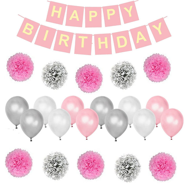 Birthday Decorations Banner Set (Pink and Silver)