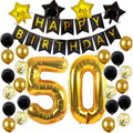 50th Birthday Party Decorations Kit: Black and Gold Balloons ,Foil Star Balloons ,50 Number Foil Balloons