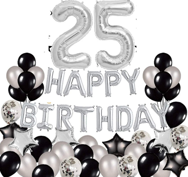 25th Birthday Decorations - Party Supplies for Happy 25th Birthday Happy Birthday Banner Gold Sash Confetti Balloons