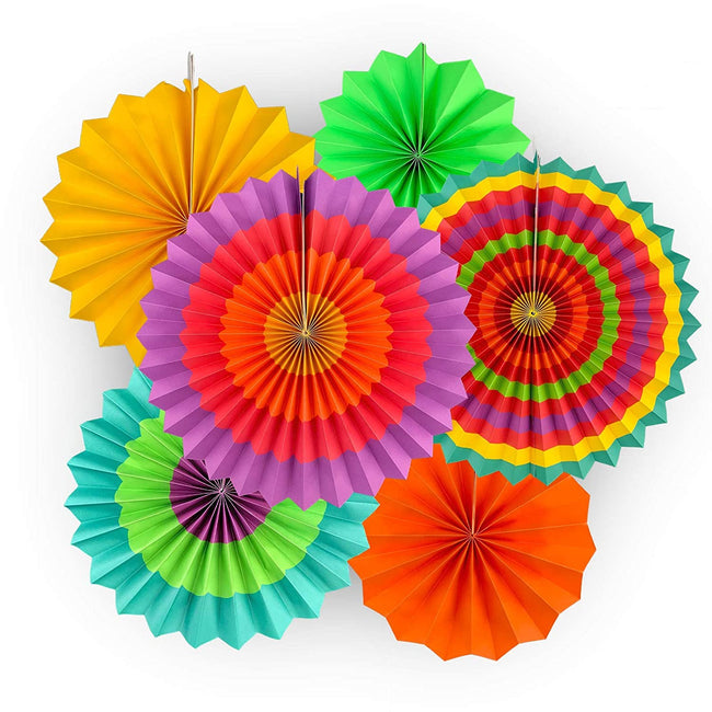 Paper Fans for Decoration Birthday Party Trend Party Fan for Wedding Birthday Showers - Multi-color (Pack of 6)