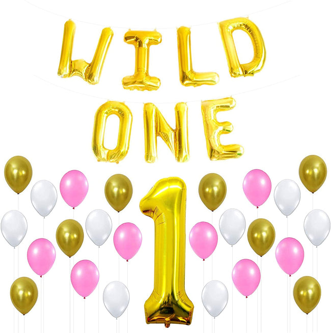 WILD ONE PINK AND GOLD PARTY COMBO -FIRST BIRTHDAY DECORATION