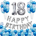 "18th Birthday Decoration Kit ""Silver Number 18 Birthday Balloons ,Blue Confetti Balloons"