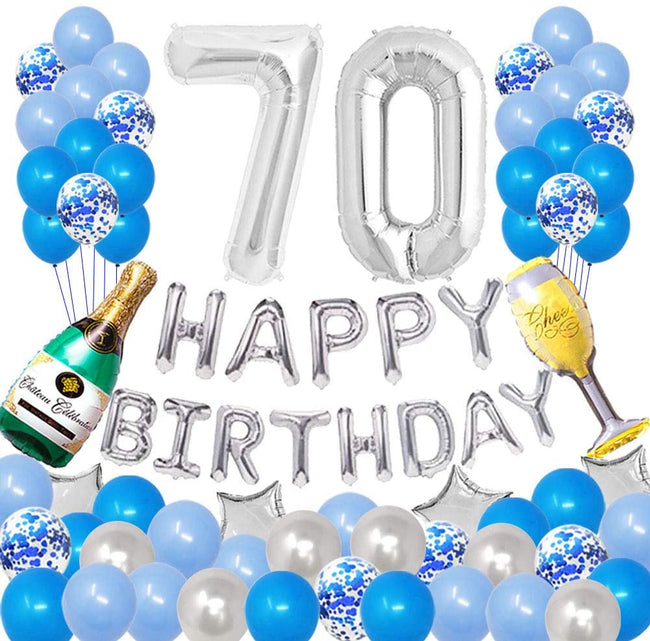 Happy 70TH Birthday Party Decorations Pack-Blue Silver Theme, Happy Birthday Banner Foil Number 70 12Inch Silver Confetti Balloons, Latex Balloons