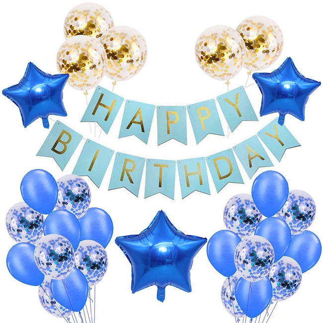 Happy Birthday Party Decorations Banners (Blue), Matching Blue and Gold Confetti Balloons